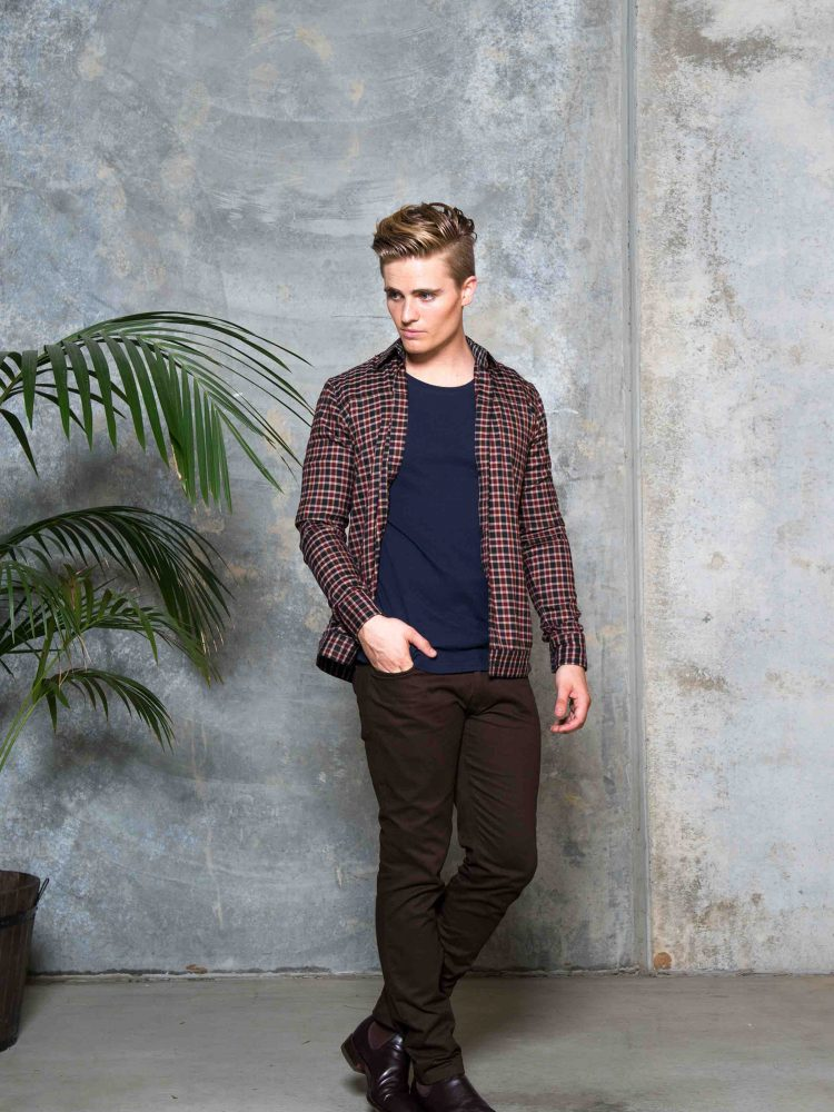 UBERMEN USUAL NAVY T-SHIRT/ SOLID BROWN CHINO PANTS/ LAX LUXE SHIRT JACKET