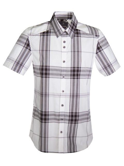 UBERMEN BLACK PLAID SHORT SLEEVE SHIRT - MORPH