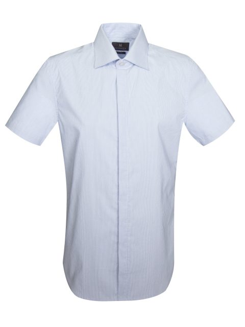 UBERMEN BLUE STRIPE SPREAD COLLAR SHORT SLEEVE SHIRT - DIVISION