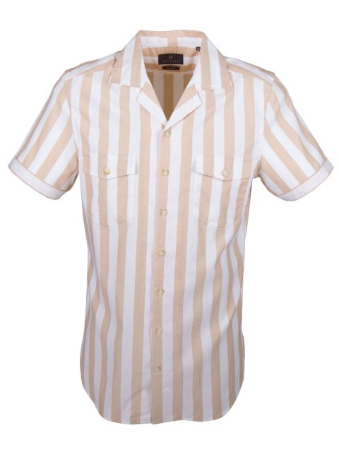 UBERMEN-Beige-Striped-Short-Sleeve-Shirt---BORACAY