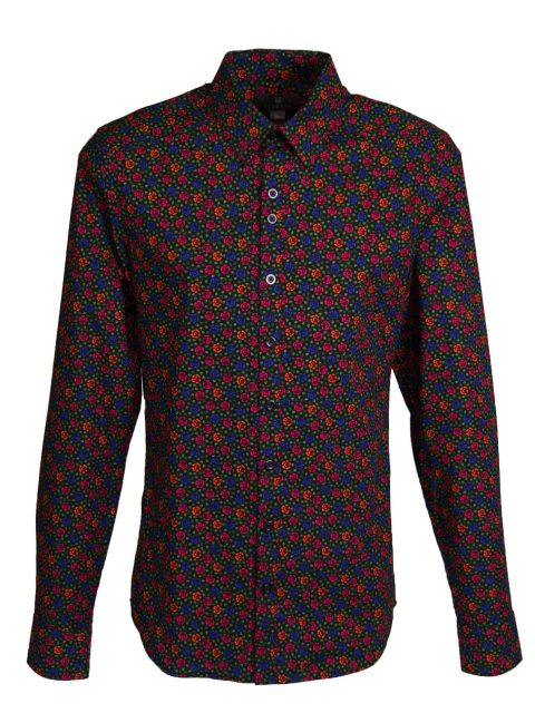 UBERMEN Black Floral Long Sleeve Shirt - ALEKSANDR