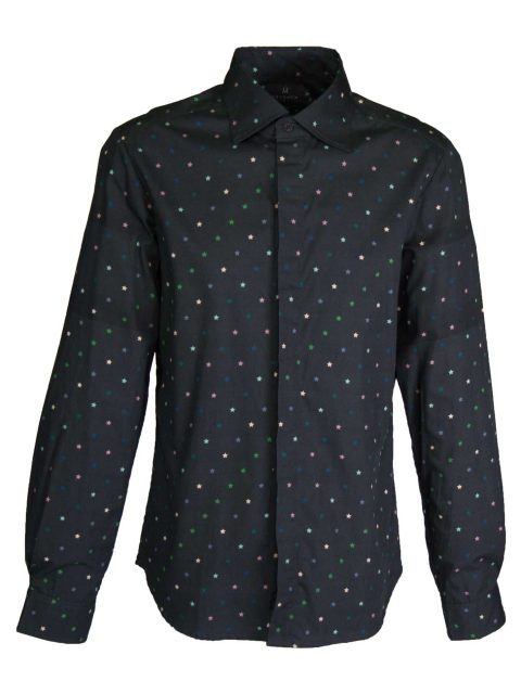 UBERMEN Black Printed Long Sleeve Shirt - STAR GAZE