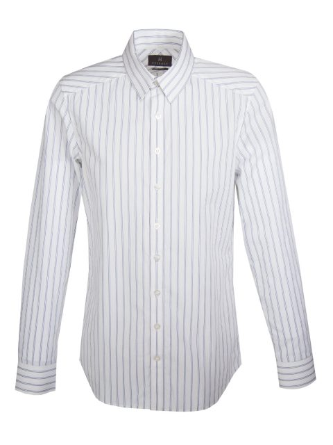 UBERMEN Blue Dobby Stripe Long Sleeve Shirt - GRAY