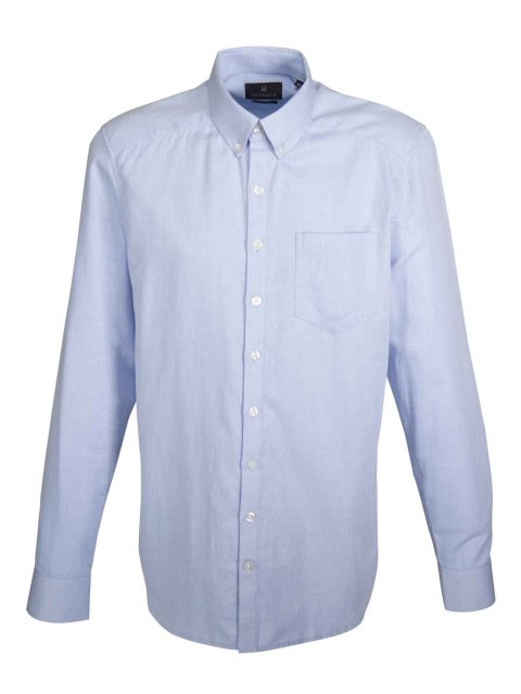 UBERMEN Blue Herringbone Long Sleeve Shirt - PURE