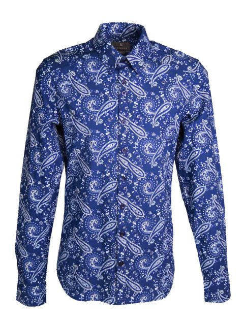 UBERMEN Blue Paisley Long Sleeve Shirt - HARRY