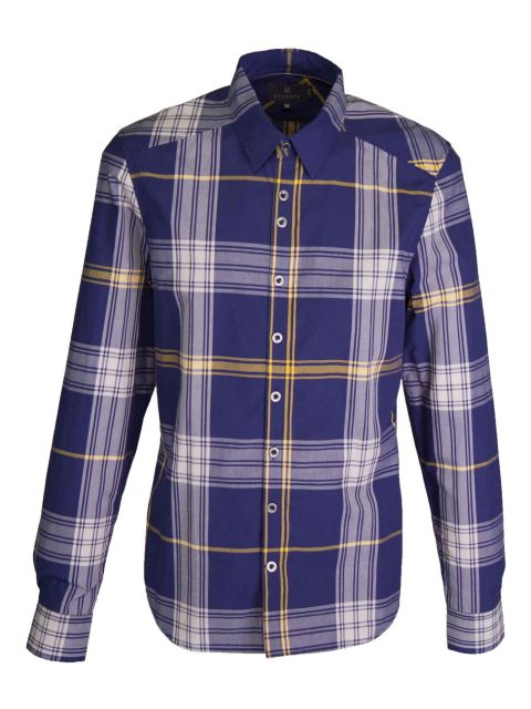 UBERMEN Blue Plaid Long Sleeve Shirt - ESSENCE