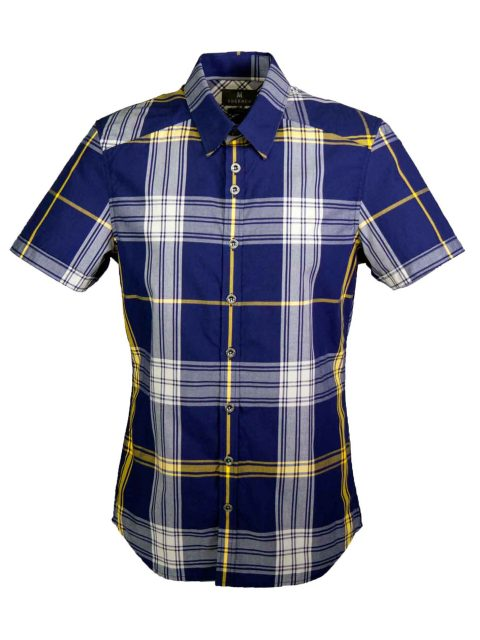 UBERMEN Blue Short Sleeve Shirt - LIMELIGHT