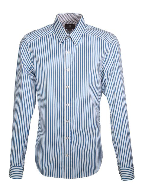 UBERMEN Blue Stripe Long Sleeve Shirt - OXFORD