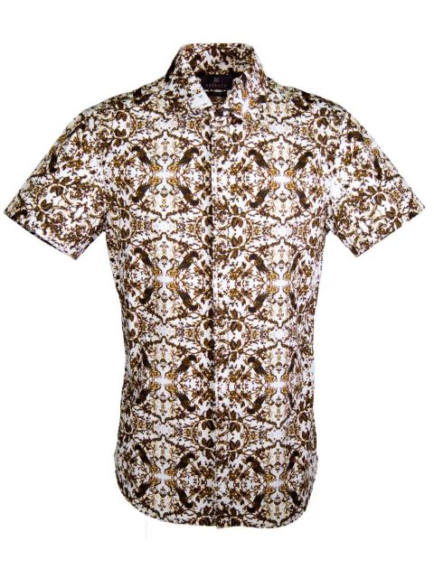 UBERMEN Brown Floral Short Sleeve Shirt - TREASURE