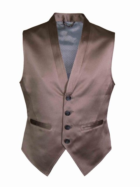 UBERMEN Brownish Grey Poly Cotton Blend Waistcoat