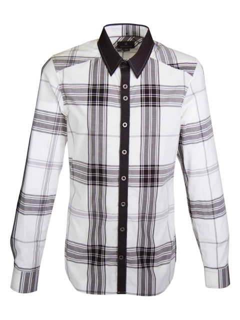 UBERMEN Contrast Plaid Check Long Sleeve Shirt - #9