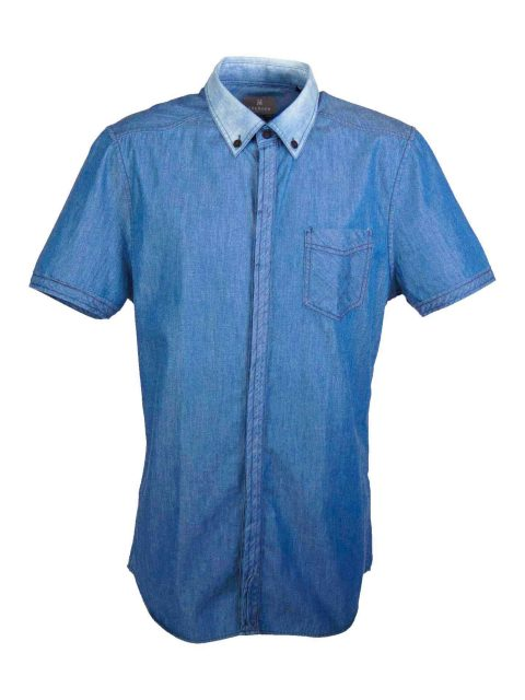 UBERMEN Denim Short Sleeve Shirt - DARK