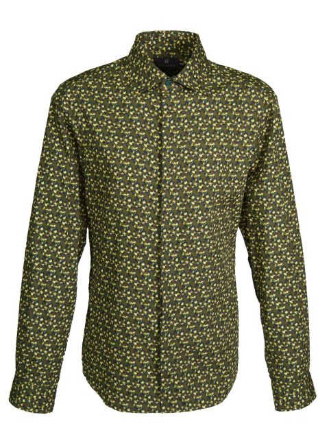 UBERMEN Forrest Green Floral Long Sleeve Shirt - HIDE N SEEK