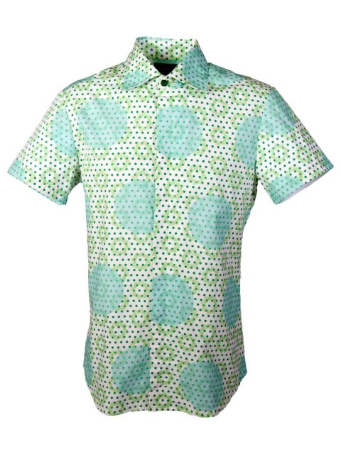 UBERMEN Green  Floral Short Sleeve Shirt - POLKA PALMS