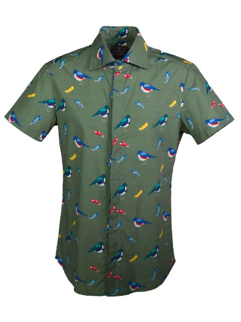 UBERMEN Green  Printed Short Sleeve Shirt - BIRD WATCH