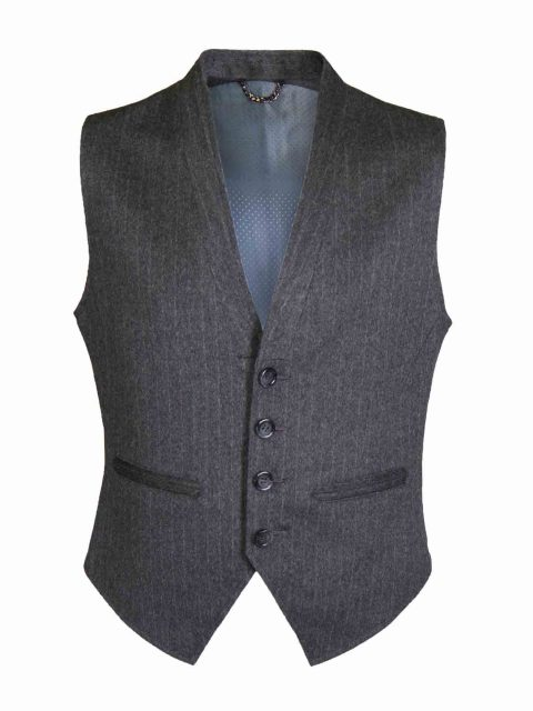 UBERMEN Grey Platinum Wool Cashmere Blend Striped Waistcoat