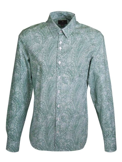 UBERMEN Midnight Green Paisley Long Sleeve Shirt - DIEGO
