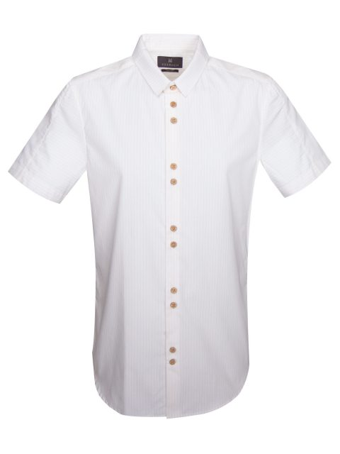 UBERMEN ORANGE STRIPE MICRO COLLAR SHORT SLEEVE SHIRT - COCONUT