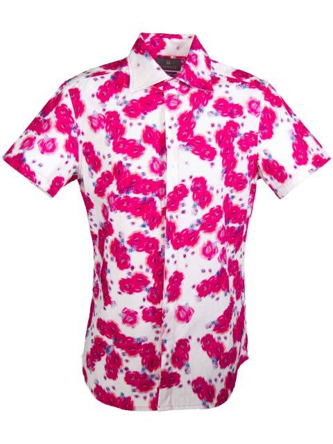 UBERMEN Pink Floral Short Sleeve Shirt - BLOOMING CACTUS