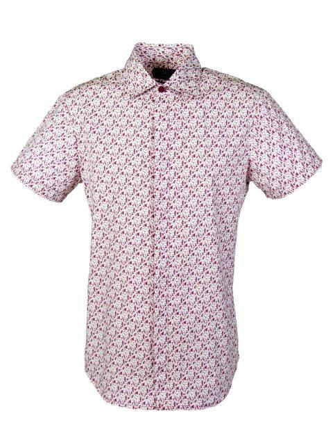UBERMEN Pink Floral Short Sleeve Shirt - DITSY DAISY