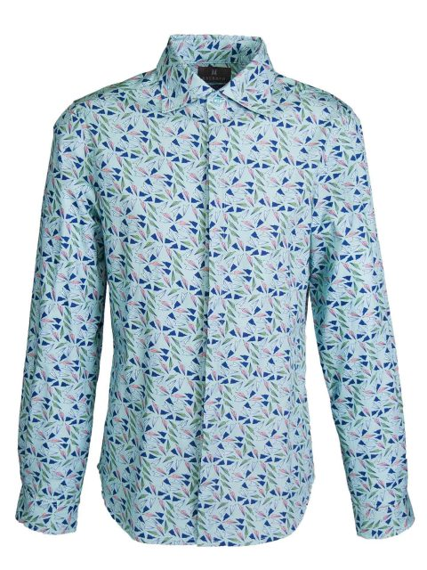 UBERMEN Printed Long Sleeve Shirt - GREEN PAPER PLANES