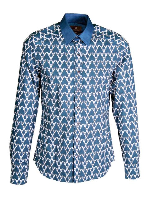 UBERMEN Printed Turkish Blue Long Sleeve Shirt - Fervent