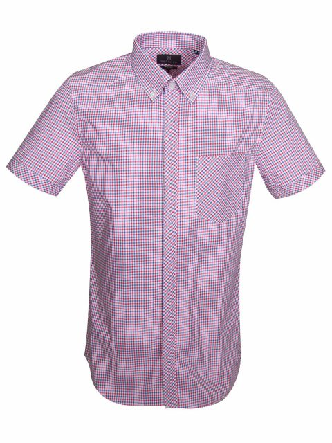 UBERMEN RED BUTTON DOWN COLLAR CHECKED COTTON LONG SLEEVE SHIRT - CAPTAIN