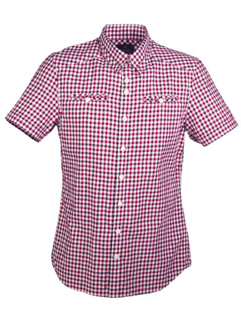 UBERMEN Red  Short Sleeve Shirt - RUBY