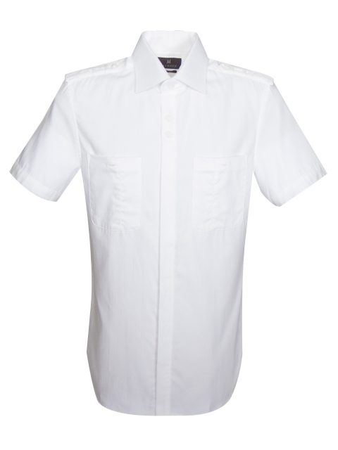 UBERMEN WHITE SPREAD COLLAR HERRINGBONE SHORT SLEEVE SHIRT - RESORT