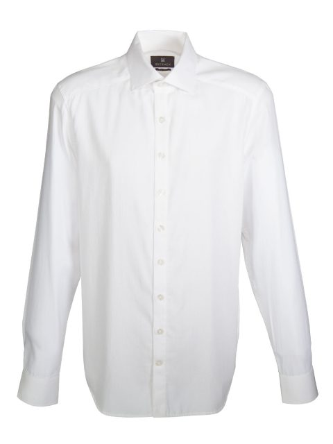 UBERMEN-White-Herringbone-Long-Sleeve-Shirt---SHARP