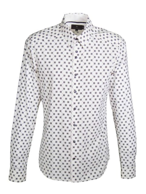 UBERMEN White Printed Long Sleeve Shirt -  CHRONICLE