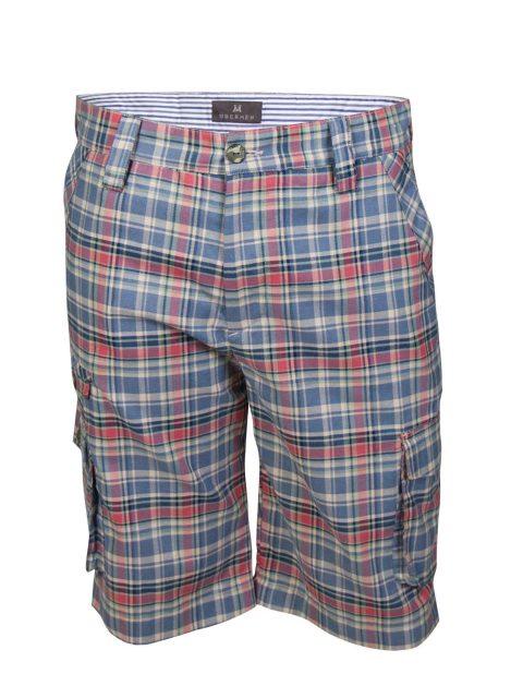 UBERMEN Blue Checked Knee Length Shorts - LOFTIER