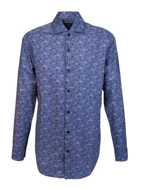 UBERMEN Blue Floral Long Sleeve Shirt - SHUTTER