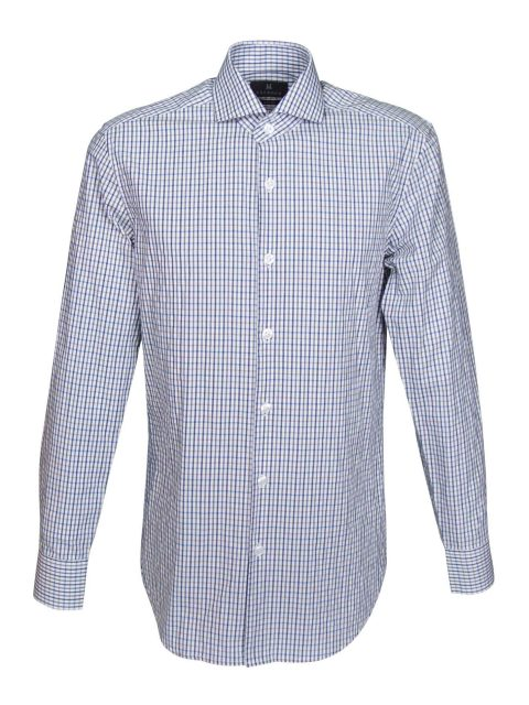 UBERMEN-Blue-Grey-Checked-Long-Sleeve-Shirt---J