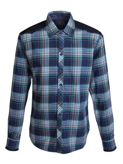 UBERMEN-Blue-Plaid-with-Contrast-Shoulders-Long-Sleeve-Shirt---SUEDE