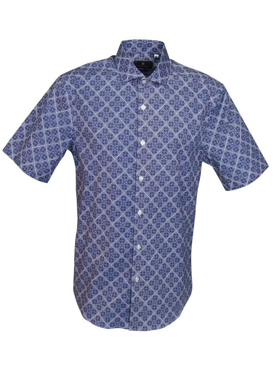UBERMEN-Blue-Printed-Short-Sleeve-Shirt---CASPAR