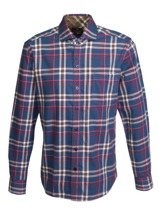 UBERMEN-Blue-Wool-Blen-Plaid-Long-Sleeve-Shirt---PREEMINENT