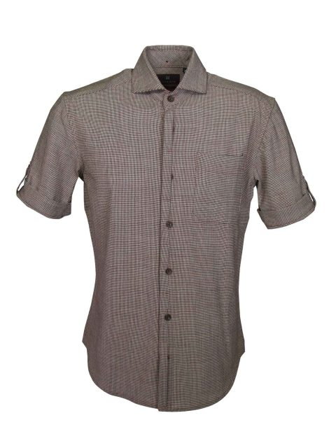 UBERMEN-Brown-Wool-Blend-Short-Sleeve-Shirt---XAVIER