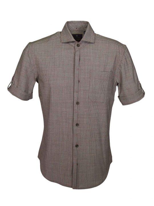 UBERMEN-Brown-Wool-Blend-Short-Sleeve-Shirt---XAVIER