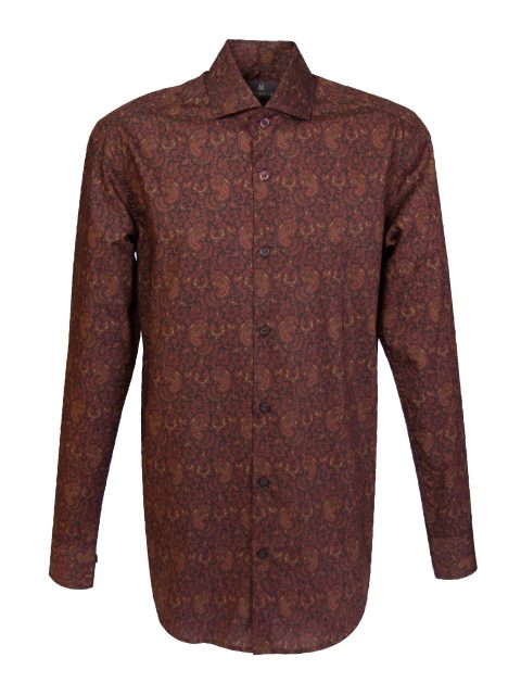 UBERMEN Burgundy Floral Long Sleeve Shirt - ALLUENT
