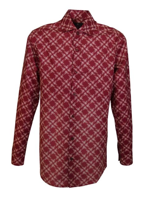 UBERMEN-Burgundy-Printed-Long-Sleeve-Shirt---CRISS-CROSS