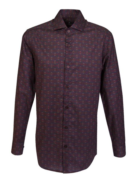 UBERMEN-Burgundy-Printed-Long-Sleeve-Shirt---INDIANA