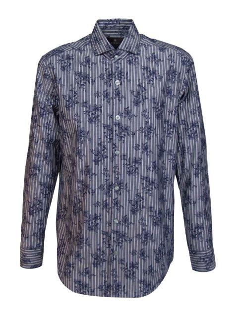 UBERMEN Denim Floral Long Sleeve Shirt - PILGRIM