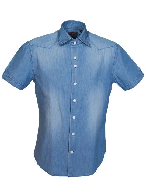 UBERMEN-Denim-Short-Sleeve-Shirt- ZACHARIE
