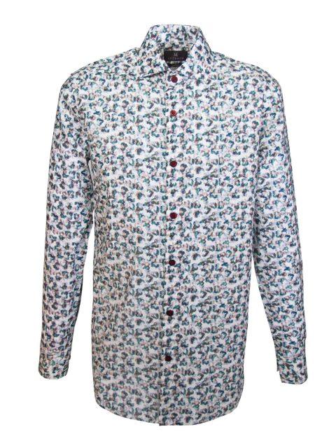 UBERMEN Green Floral Long Sleeve Shirt - EXALT