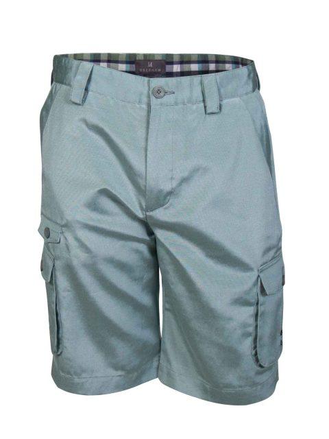 UBERMEN Green Poly-Cotton Blend Knee Length Shorts - OPULENCE