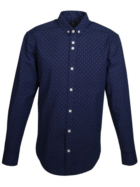 UBERMEN-Navy-Dobby-Pin-Dot-Long-Sleeve-Shirt---MAZE