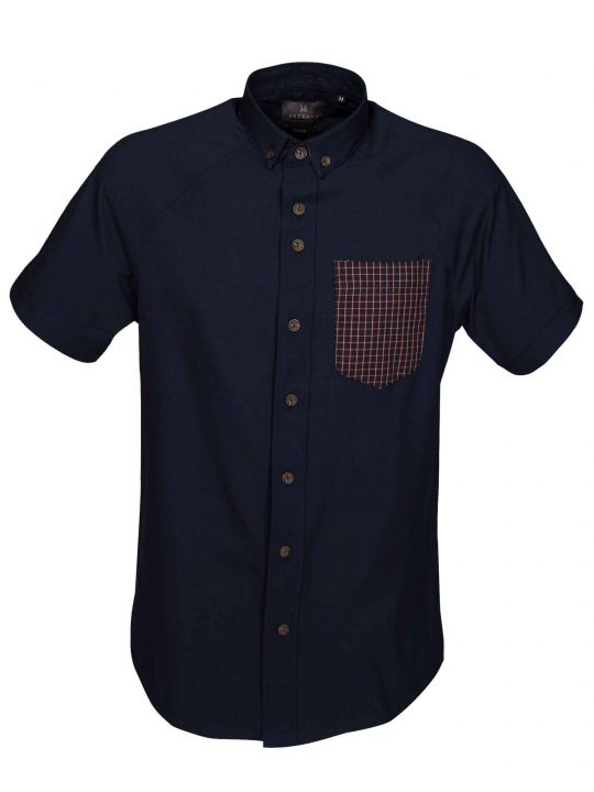 UBERMEN-Navy-Poly-Short-Sleeve-Shirt-with-Contrast-Pocket---TRISTAN