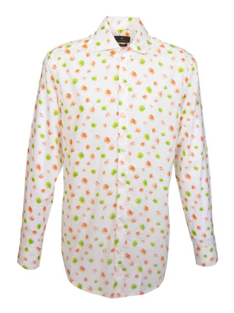 UBERMEN Orange Floral Long Sleeve Shirt - RETRO