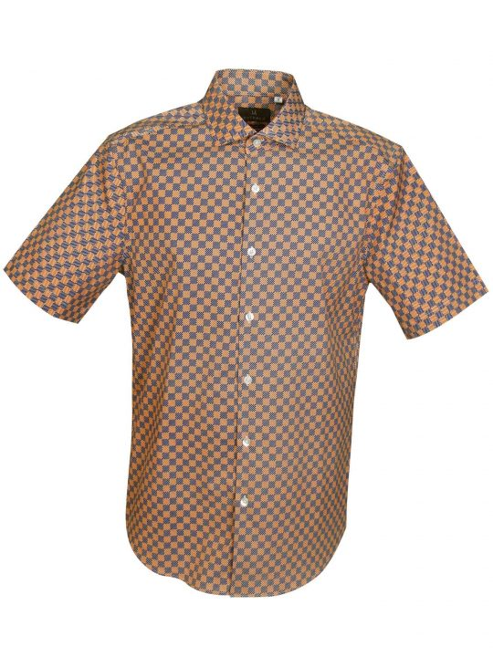 UBERMEN-Orange-and-Blue-Checked-Short-Sleeve-Shirt - RALD